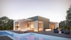 Krajobrazy nowoczesnych domów